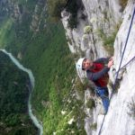 Climbing in Verdon with mountain guide sunnyclimb