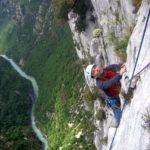 Climbing in Verdon with mountain guide sunnyclimb